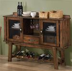MC103BS995-CO RUSTIC OAK DINING SERVER WITH WINE RACK
