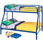 MCB225BB8B-CO BLUE HIGH GLOSS TWIN/ FULL BUNK BED
