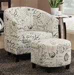 MCLR900AC210-CO FRENCH SCRIPT PATTERN ACCENT CHAIR W/ OTTOMAN