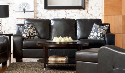 Clearance Living Room Sets on Co 3 Pc Black Leather Living Room Set   Mcivan Furniture Outlet